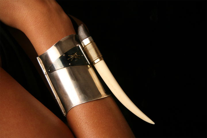 Toza, bracelet, silver with titanium and gold, ebony and ivory, 1980s