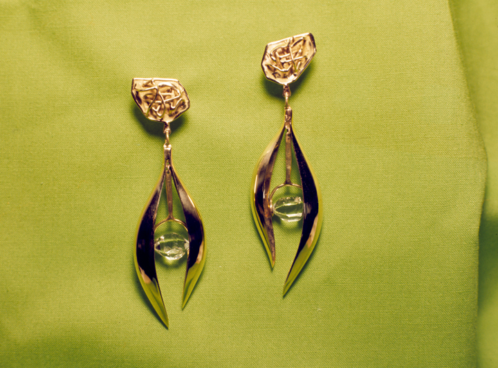 Toza, earrings, gold with faceted stone, 1960s