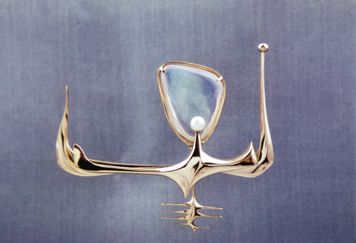Ruth, pin, gold, opal and pearl, 1950s