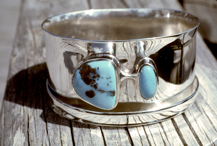 Toza, bracelet, silver and turquoise, 1980s