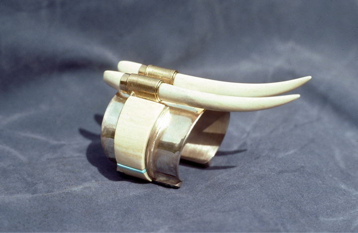 Toza, bracelet, silver, gold, turquoise and ivory, 1970s