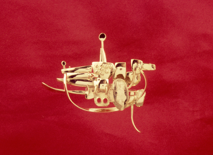 Toza, pin, gold with miniture sculture with moving elements, 1960s