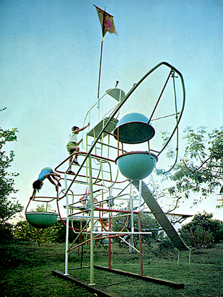 Ruth and Toza, climber, irrigation pipe and cement, 1960s