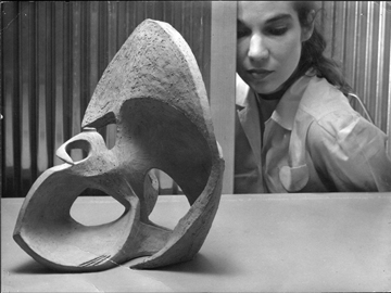 Ruth at Mills College, with ceramic owl, 1948