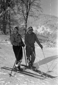 Ruth and Svetozar on Skis in Europe, early 1950s