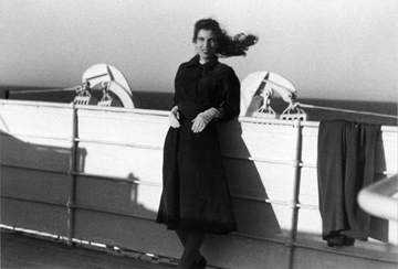 Ruth on the deck of the Liberte, February 1955