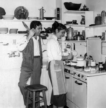 Ruth and Svetozar cooking in Rochester, 1955