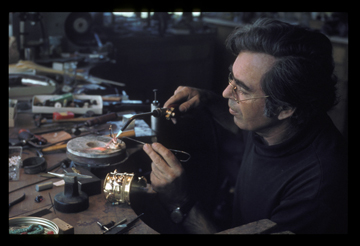 Svetozar at his workbench, with a gold cuff, Encinitas, c. 1960s